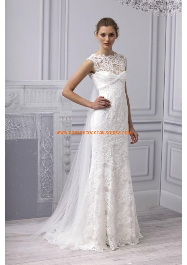 Robe longue blanc dentelle pas cher