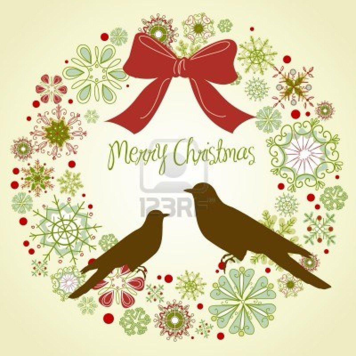 イラスト - ビンテージ クリスマス リースと 2 羽の鳥 | ロゴ