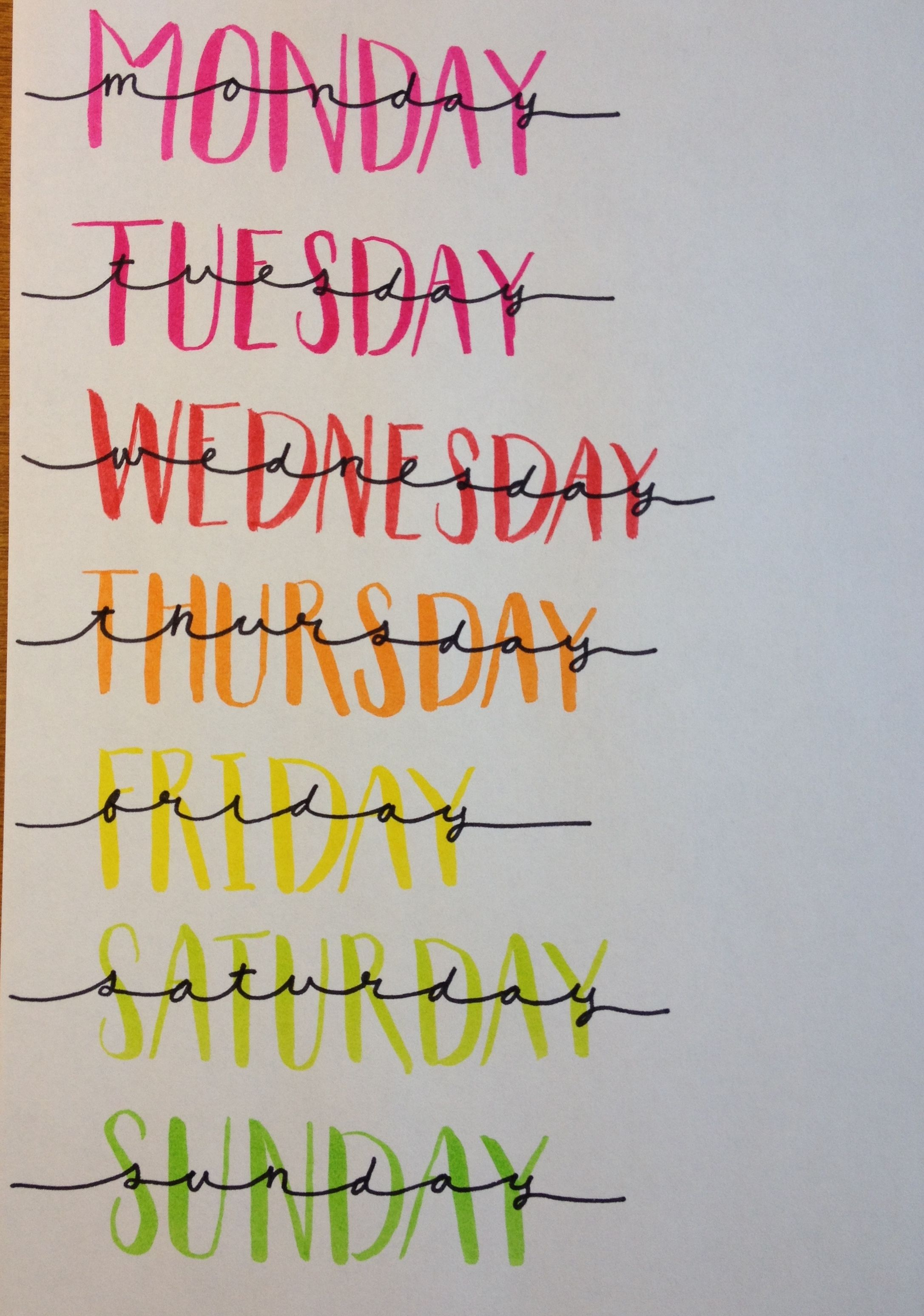 Days Of The Week Lettering Great For Bullet Journals