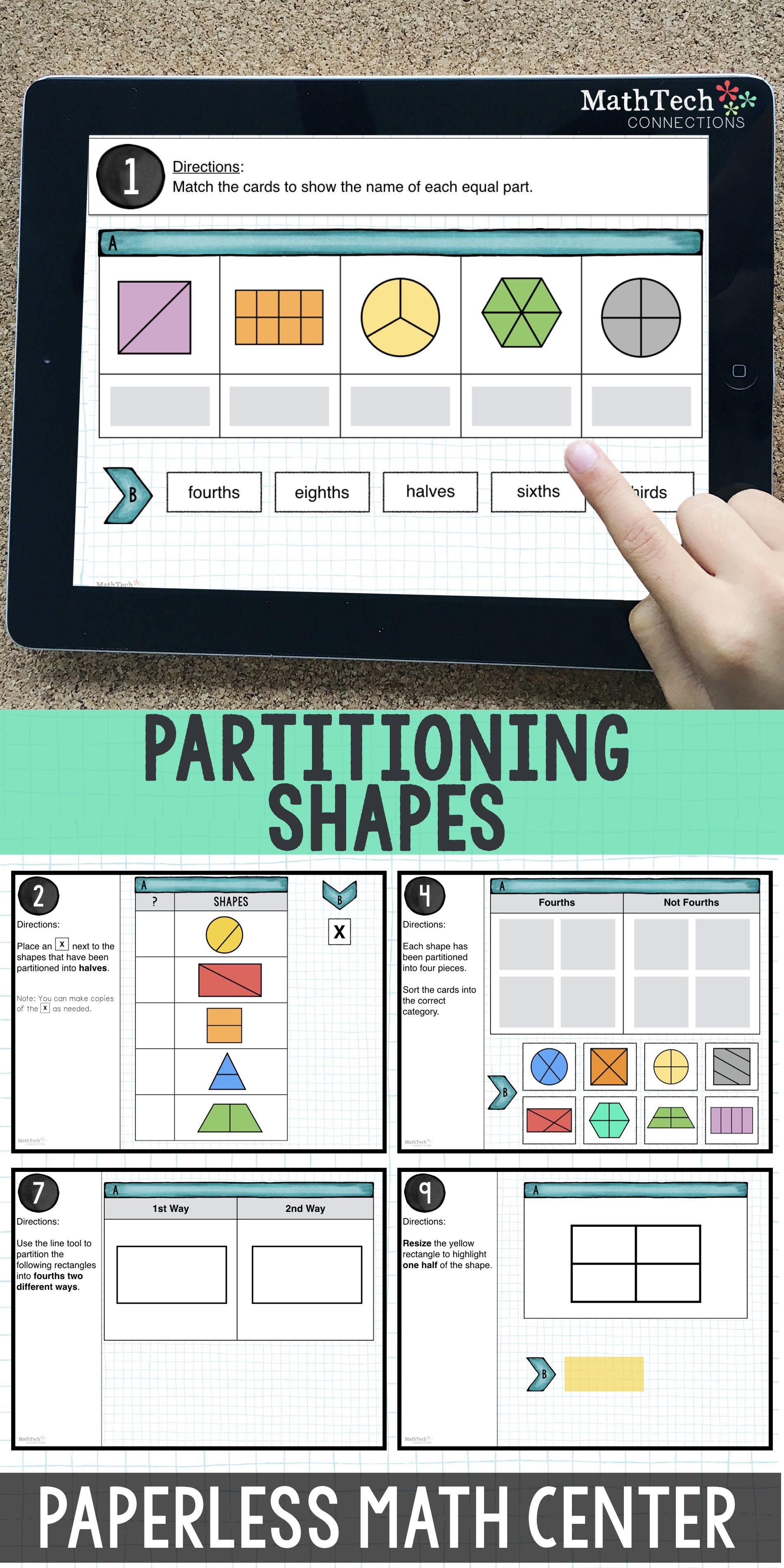3rd Grade Math Distance Learning   Partitioning Shapes Math Center   3.G.2    Shapes math centers [ 3800 x 1900 Pixel ]