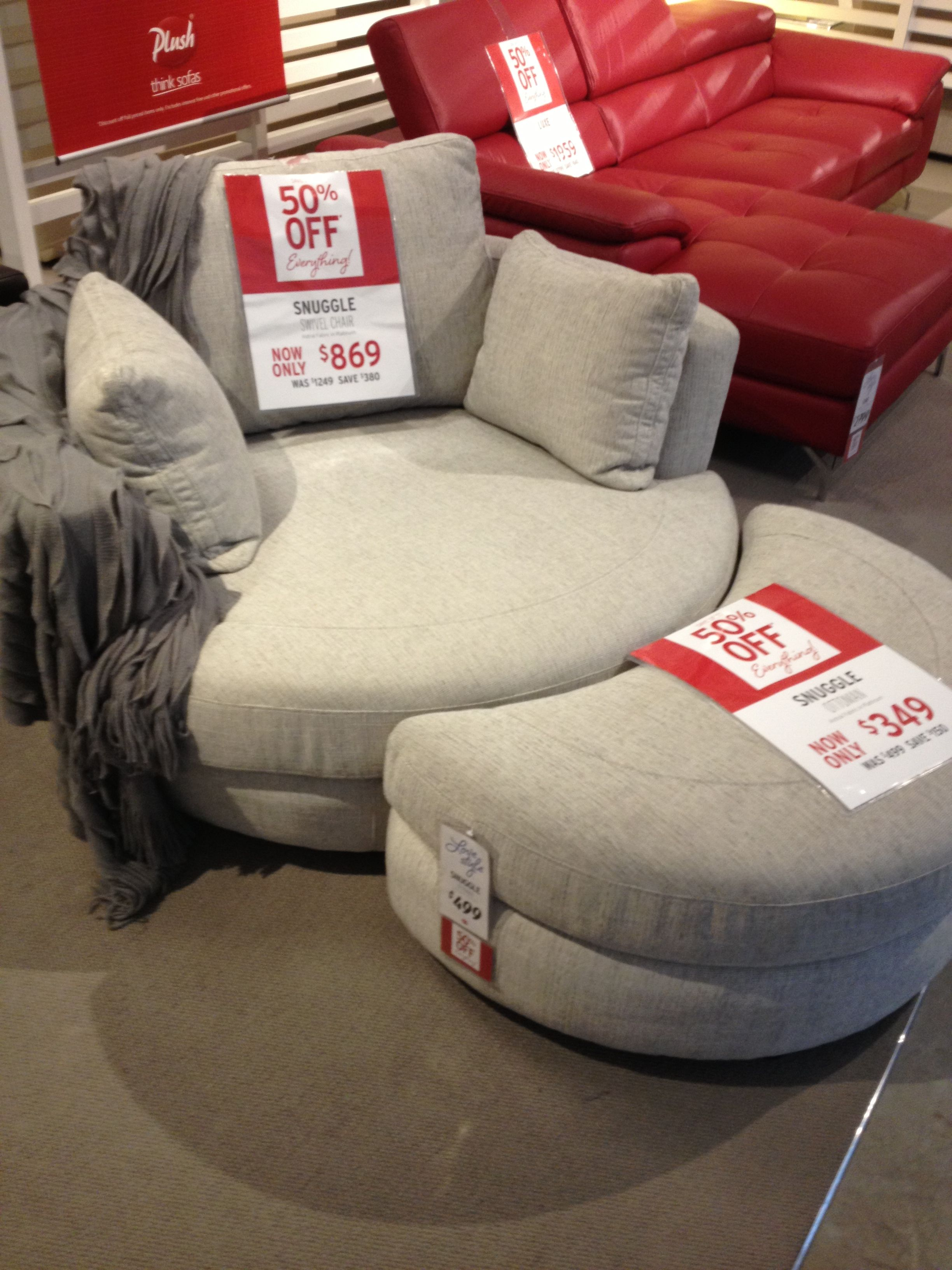 yes please snuggle swivel chair from plush furniture
