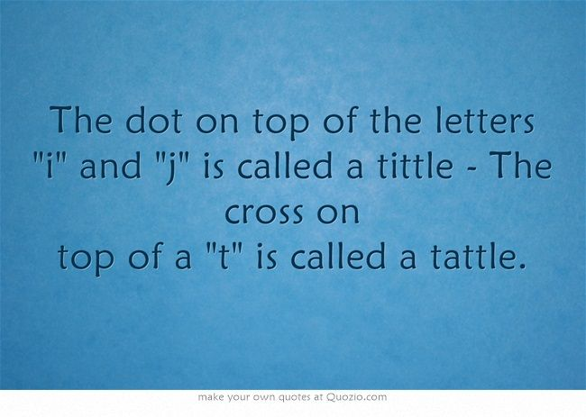 The dot on top of the letters i and j is called a tittle   The