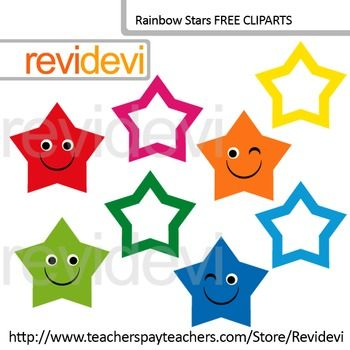 FREE Clip art Cute Rainbow Stars (set of 8) for Pre-K and ...