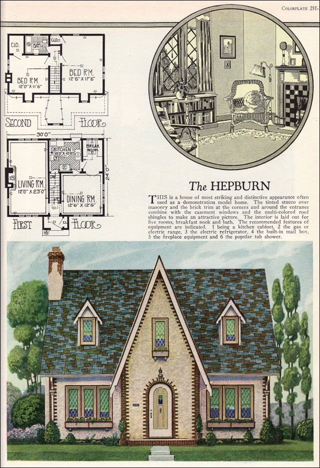 The Hepburn - English Cottage Style - Vintage 1920S House Plans
