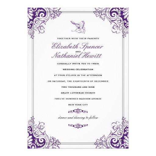 Rustic Vintage Wood Butterfly Purple Wedding Invitations