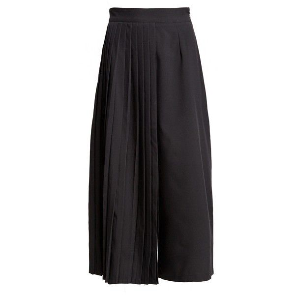 Bi Pleated Crop Pants (360 DKK) ❤ liked on Polyvore featuring pants, capris, pleated trousers, side zipper pants, side zip pants, cropped pants and pleated pants
