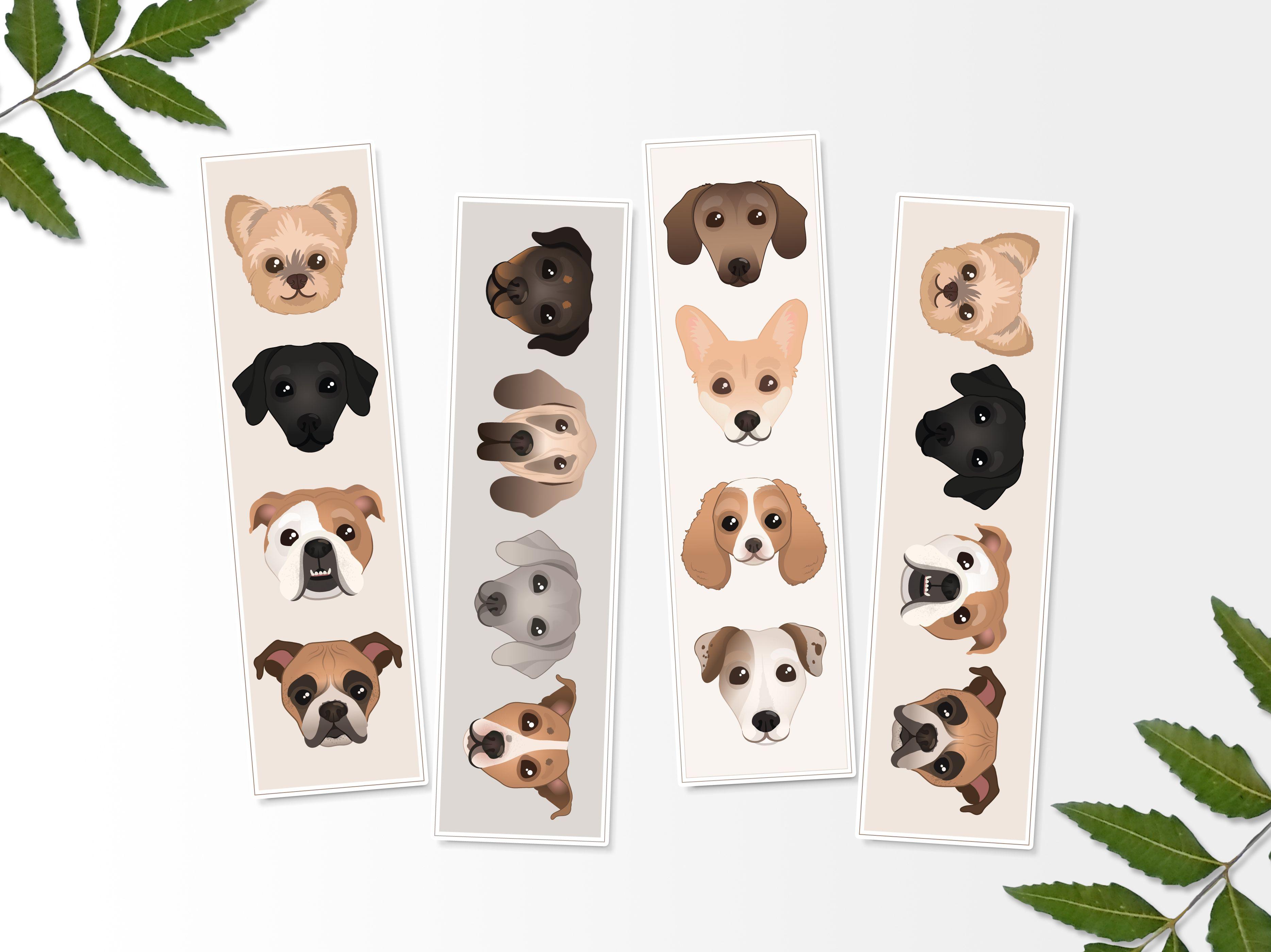 - Printable Dog Bookmarks, Printable Bookmark, Digital Print