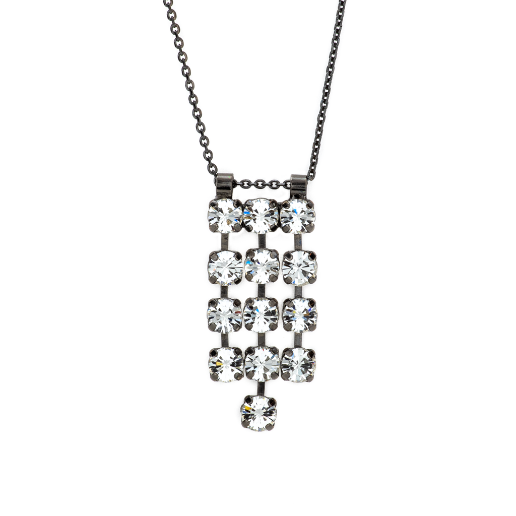 Photo of Petite Three Row Pendant in Crystal Moonlight *Preorder* – Gray Plating