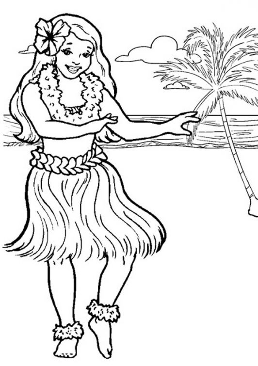 Free Hawaiian Hula Dancer Coloring Page Online Beach Coloring Pages