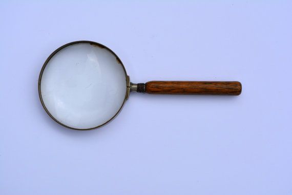 1930s x6 Vintage Magnifying Glass with Wooden Handle Vintage Hand Glass Vintage Optical Vintage Memorabilia Sherlock Holmes