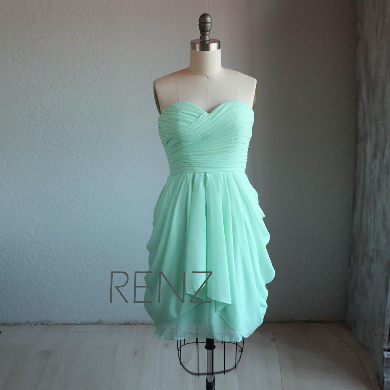 Bright Mint Bridesmaid Dress,Short Wedding Dress,Strapless Short ...