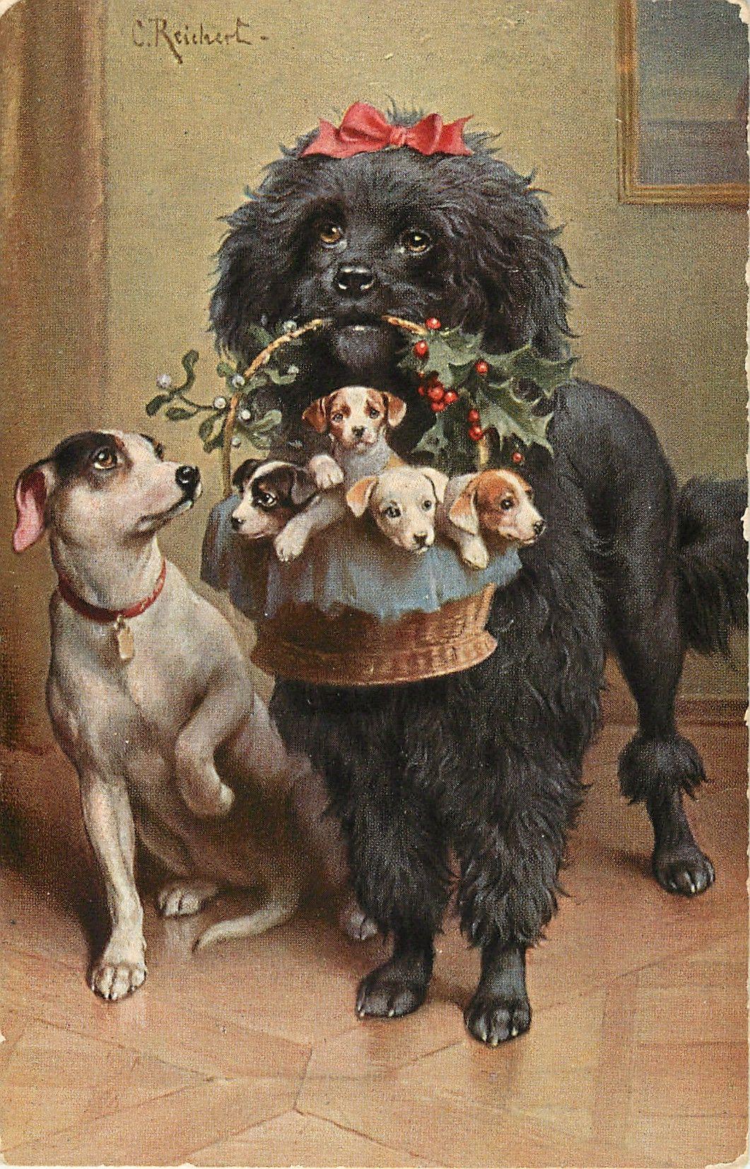Стиле ретро, поздравительная открытка собака