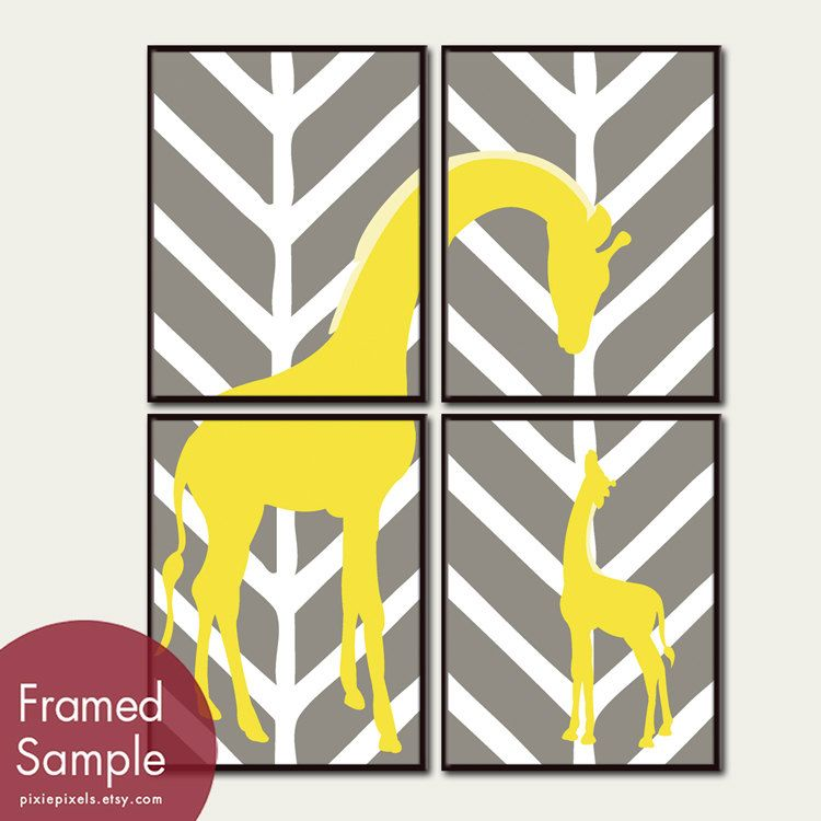 Momma and Baby Giraffe Series B Set of 4 8x10 Art by pixiepixels, $38.85