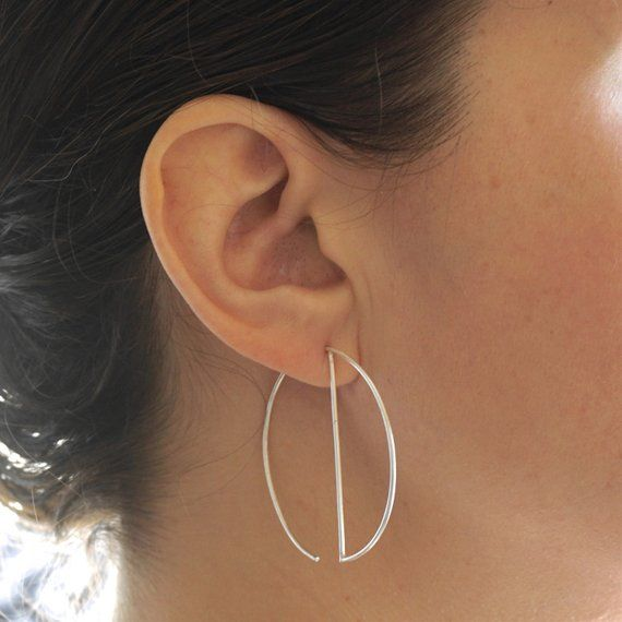 ff0095801d5b7 Simple Modern Dangle Open Hoop Earrings Minimalist design geometric ...