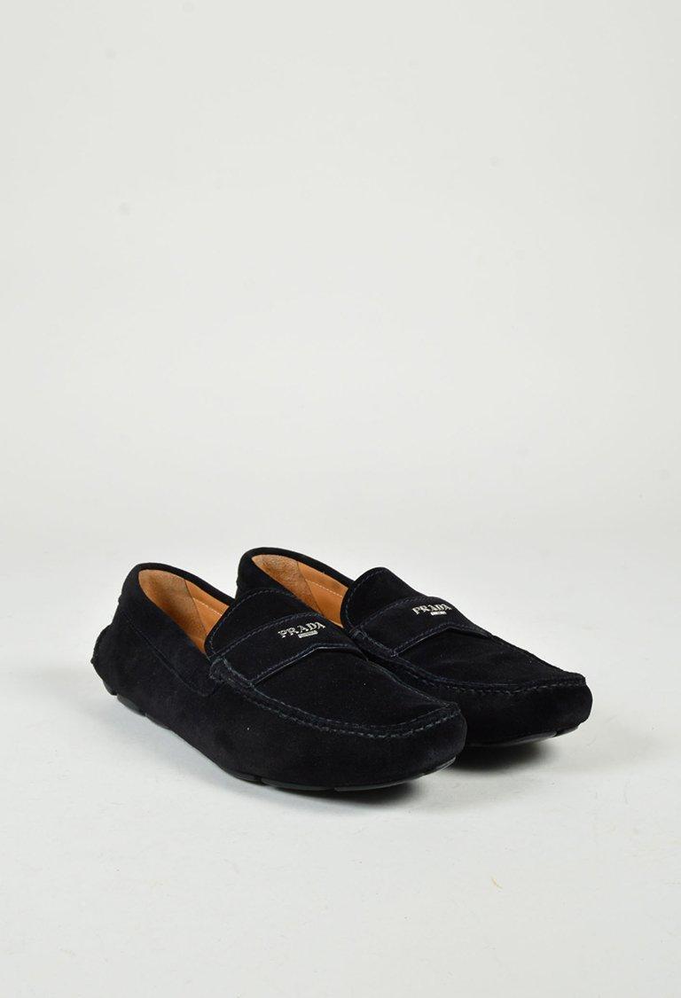 Prada Men s Black Suede Silver Tone Logo Loafer Flats  7548ed9e1