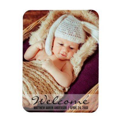 #photo - #Welcome New Baby Photo Announcement Magnet L