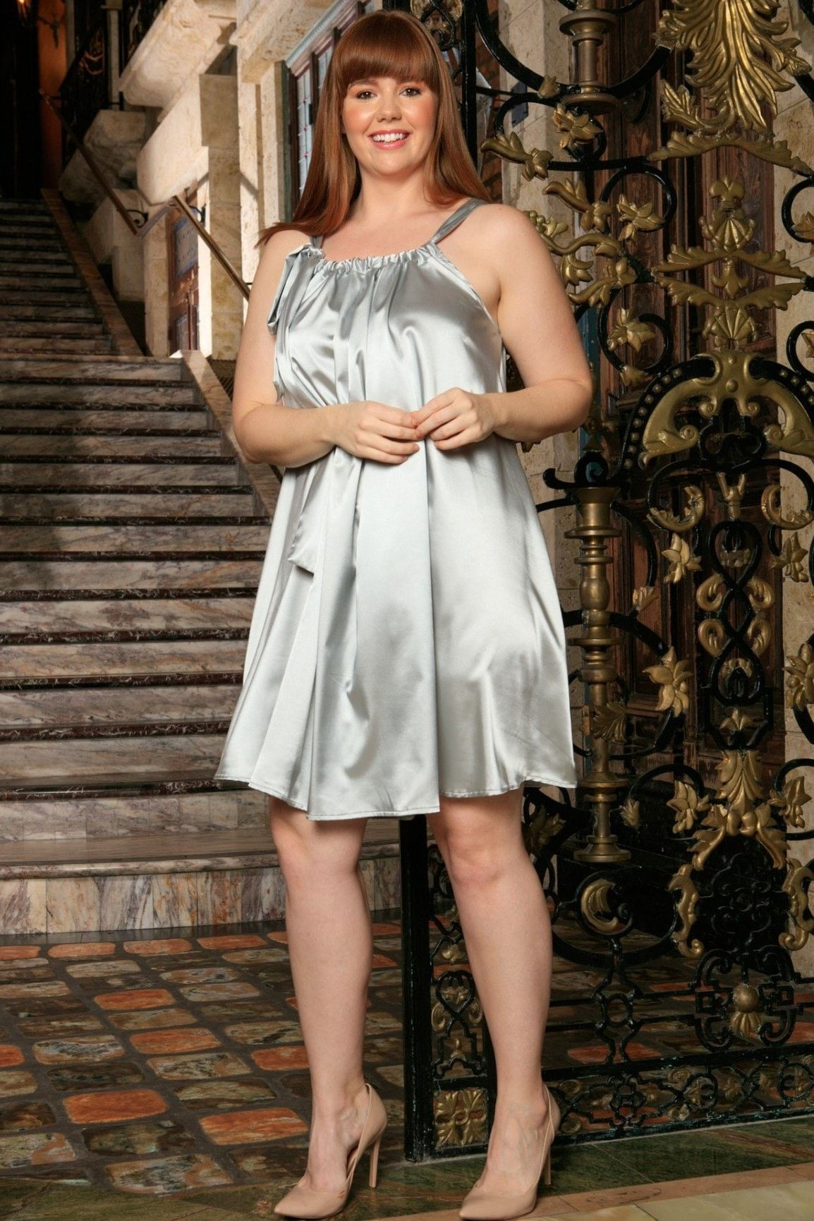 Silver Grey Halter Spring Party Cocktail Swing Dress - Women Plus Size
