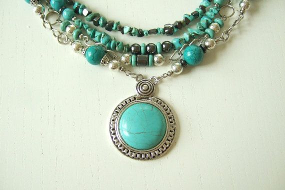 TORTUGA - Statement multiple rows necklace with Turquoise Howlite, Hematite &  Tibetan Silver round pendant