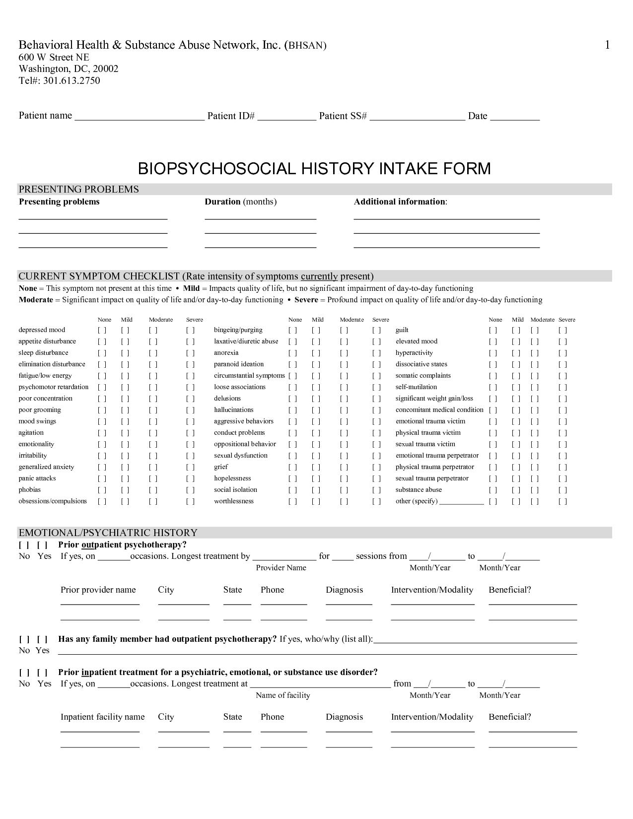 Social History Intake Form  Art Therapy    History