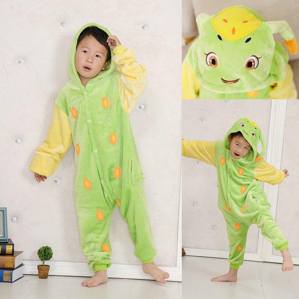 87817b0aaa4c Green Worm Tangbao Kids Kigurumi Onesies Pajama Winter Animal Hoodie ...