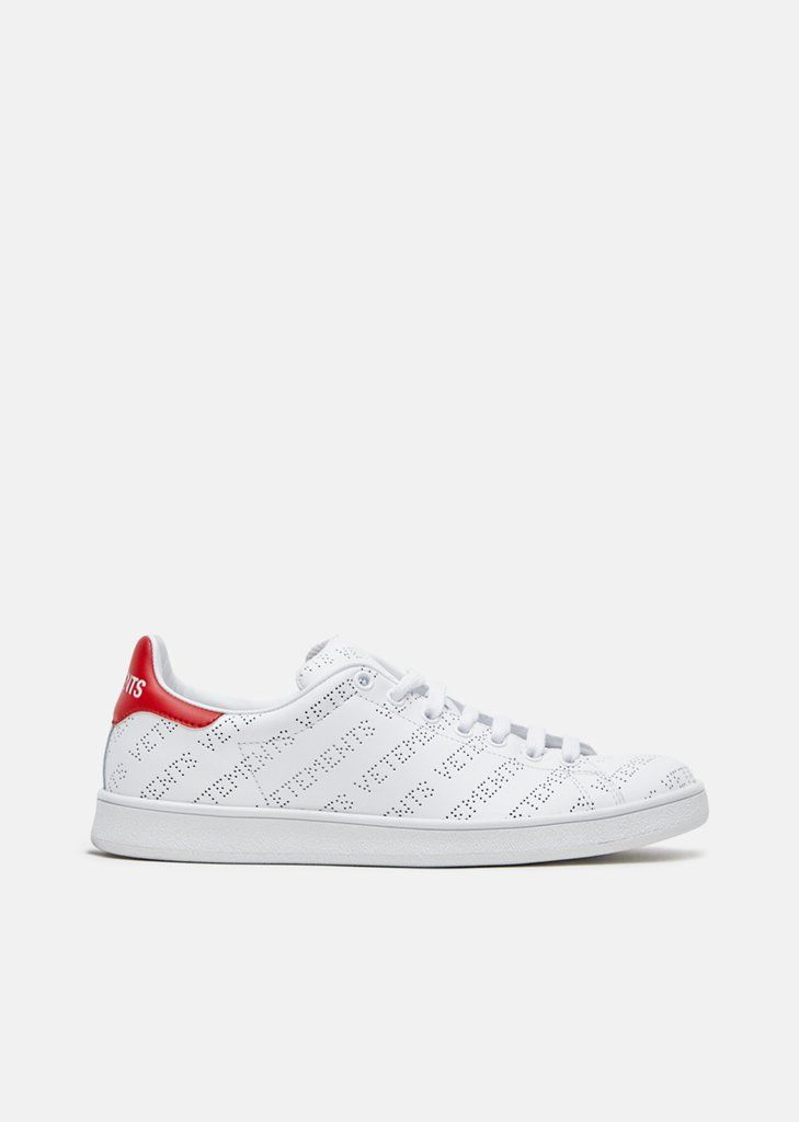 Mens Logo-Perforated Leather Sneakers VETEMENTS giSBvCHC4K
