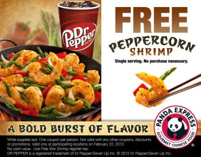 Panda Express Gourmet Chinese Food Printable Coupon For Free Peppercorn Shrimp Exp February 22 2012 Food Panda Express Food Discount