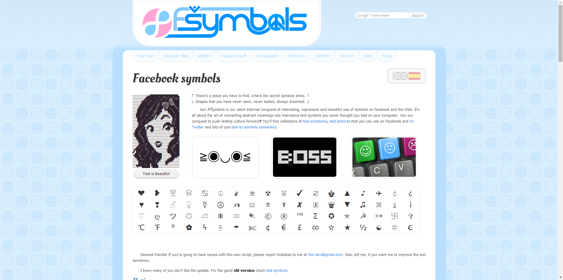 Fsymbols Is A Unique Website With Cool Text Character Maps