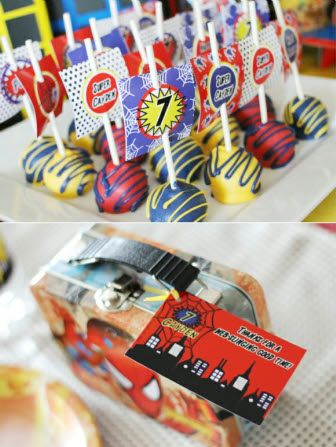 Spider Comic Book Hero Party Printables Supplies Partyware #spiderhero #spider #birthday #party #partysupplies #partyideas #printables