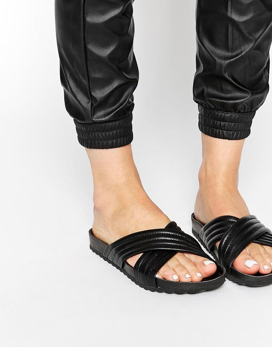 Black sandals littlewoods - Image 1 Of Pieces Tahi Black Leather Cross Strap Flat Slider Sandals