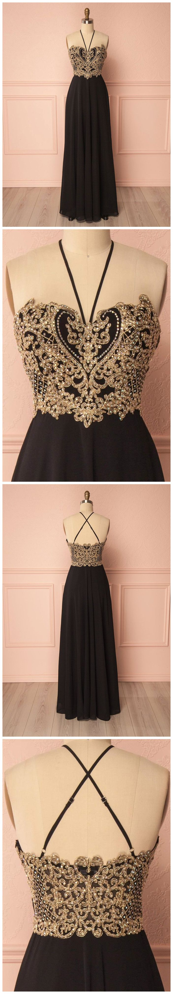 Spaghetti straps chiffon black gorgeous prom dress gold prom dresses