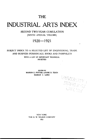 Industrial Arts Index Pdf By Published On 1921 By This Book Was