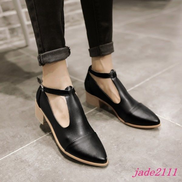 225d0ab287b5 Women s Oxford Mid Block Heel Shoes Pointy Toe T-Strap Ankle Buckle Pumps  Size