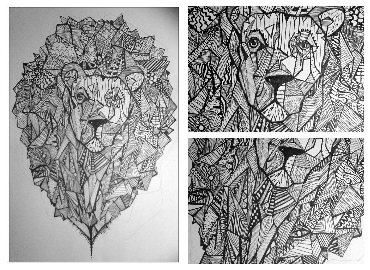 geometric lion by grace green tattoos tatouage et dessin. Black Bedroom Furniture Sets. Home Design Ideas