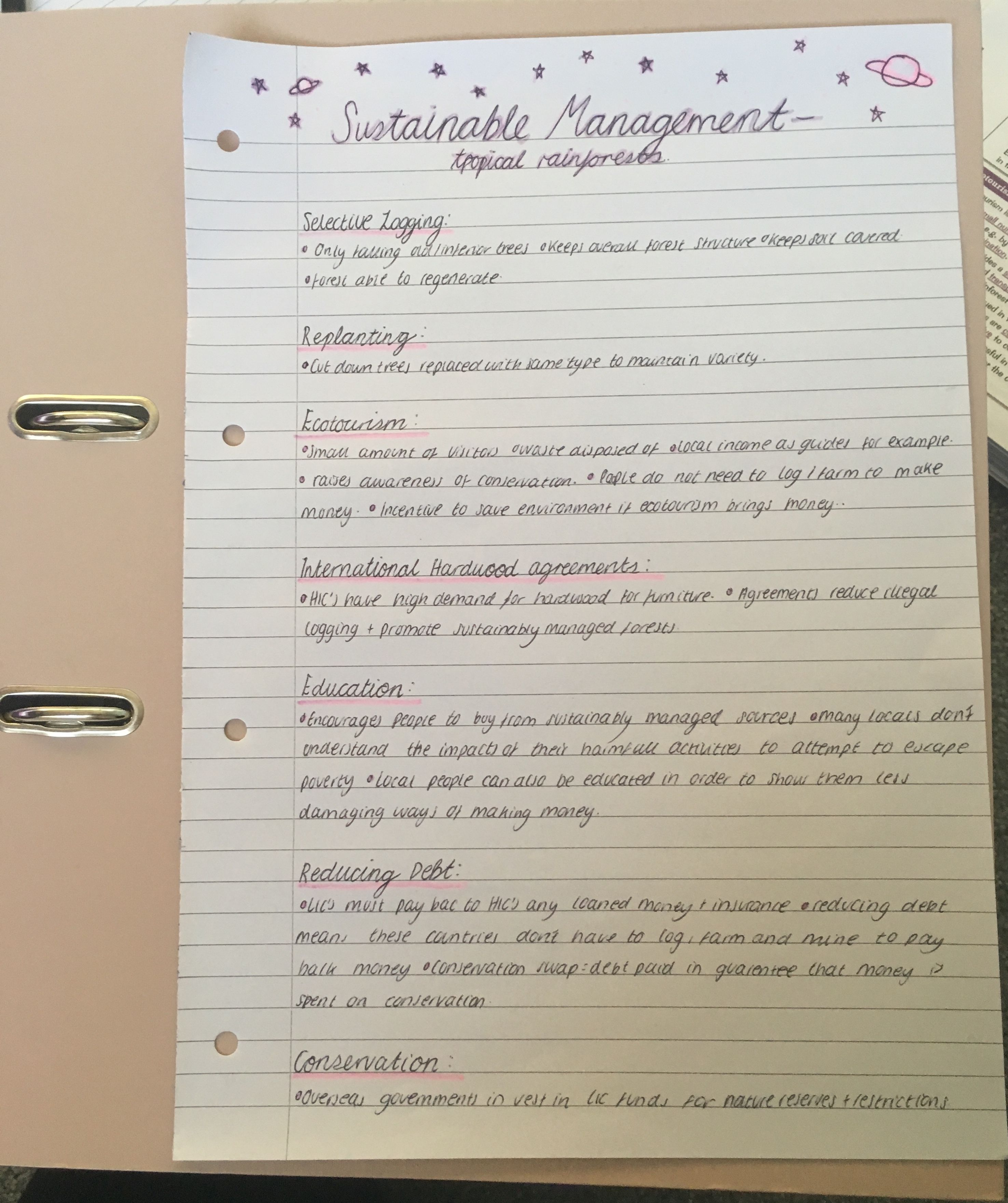 Study notes for geography sustainable management in the