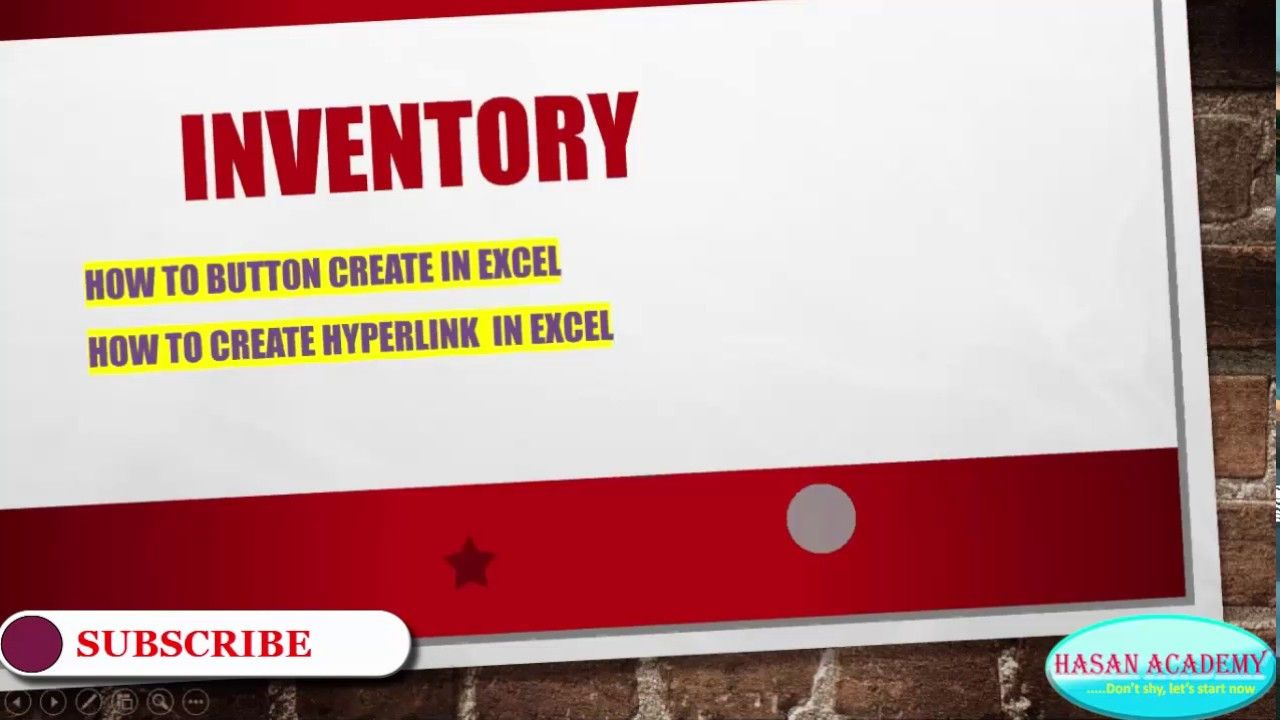 Inventory solutions by Microsoft Excel with Button & Hyperlink