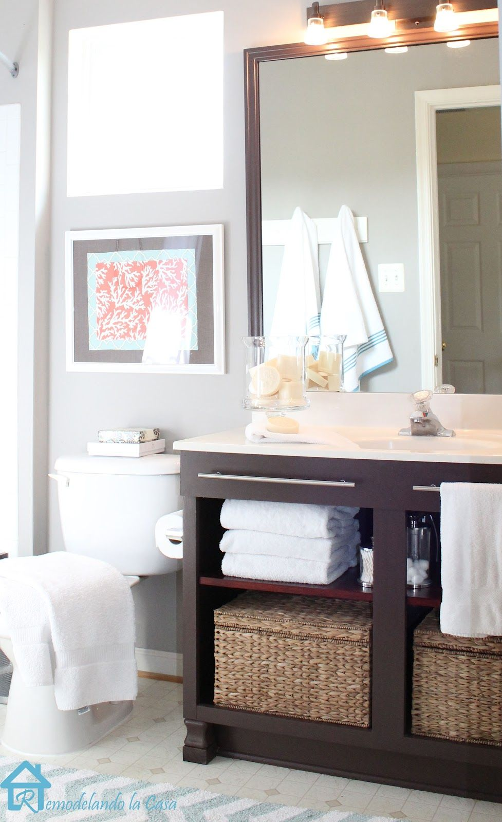 Diy bathroom vanity makeover - Bathroom Vanity Makeover Remove Existing Cabinet Doors Refinish And Add A Shelf
