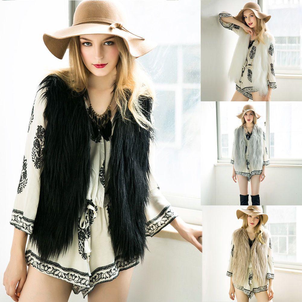Winter Autumn Women Faux Fur Vest Coat Sleeveless Long Hair