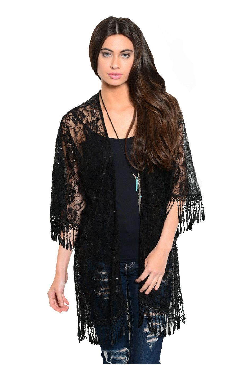 3/4 Sleeve Sheer Lace Sequin Kimono Cardigan | Cute Kimono ...