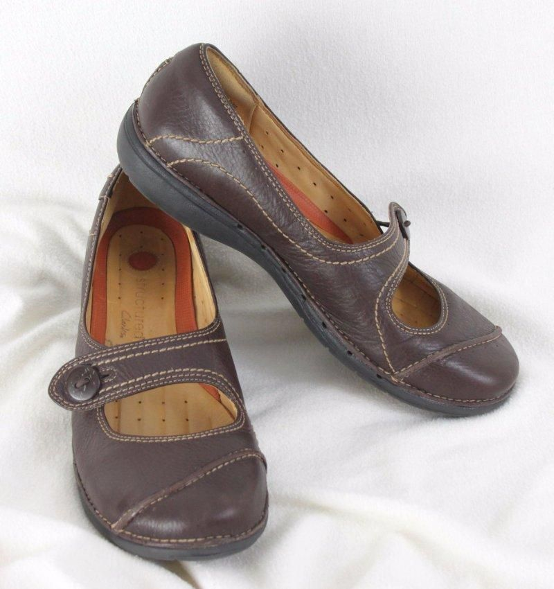 a686dbccce57 Clarks Structured size 10 Womens Brown Leather Mary Jane Comfort Shoes   Clarks  MaryJanes  Casual