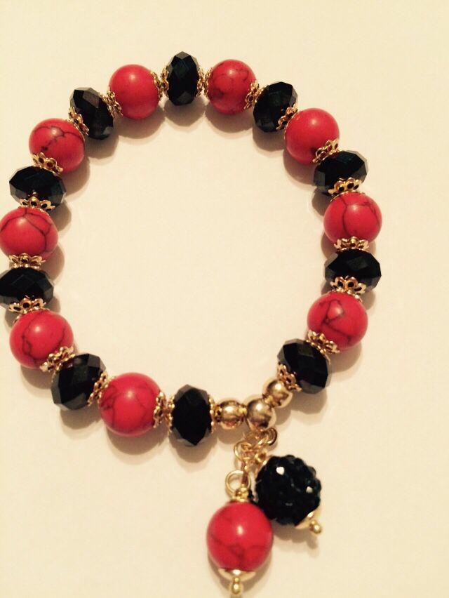 8c608a9e2cd4 Pulsera de cristales y piedras rojas   Pulseras   Pulseras de ...