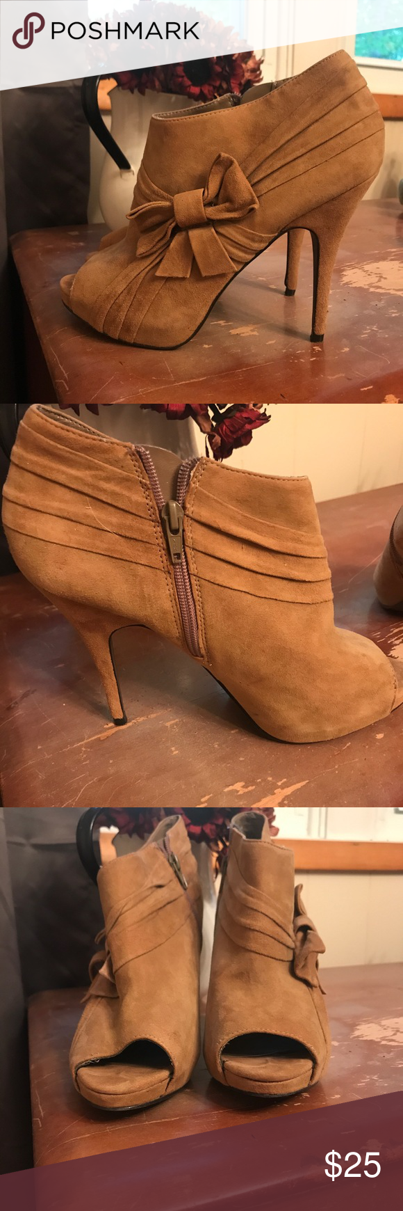 ALDO Boots Open toe, high heeled booties. Size 40. (US size 10). Bought a few years ago and only worn twice. Feel free to make an offer! ALDO Shoes Ankle Boots & Booties