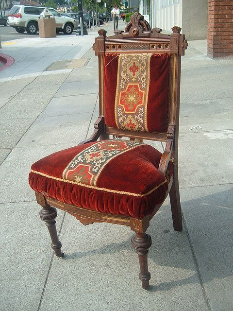 love the gathering around the front - Eastlake chair - Eastlake Antique Victorian, Upholstery And Victorian Furniture