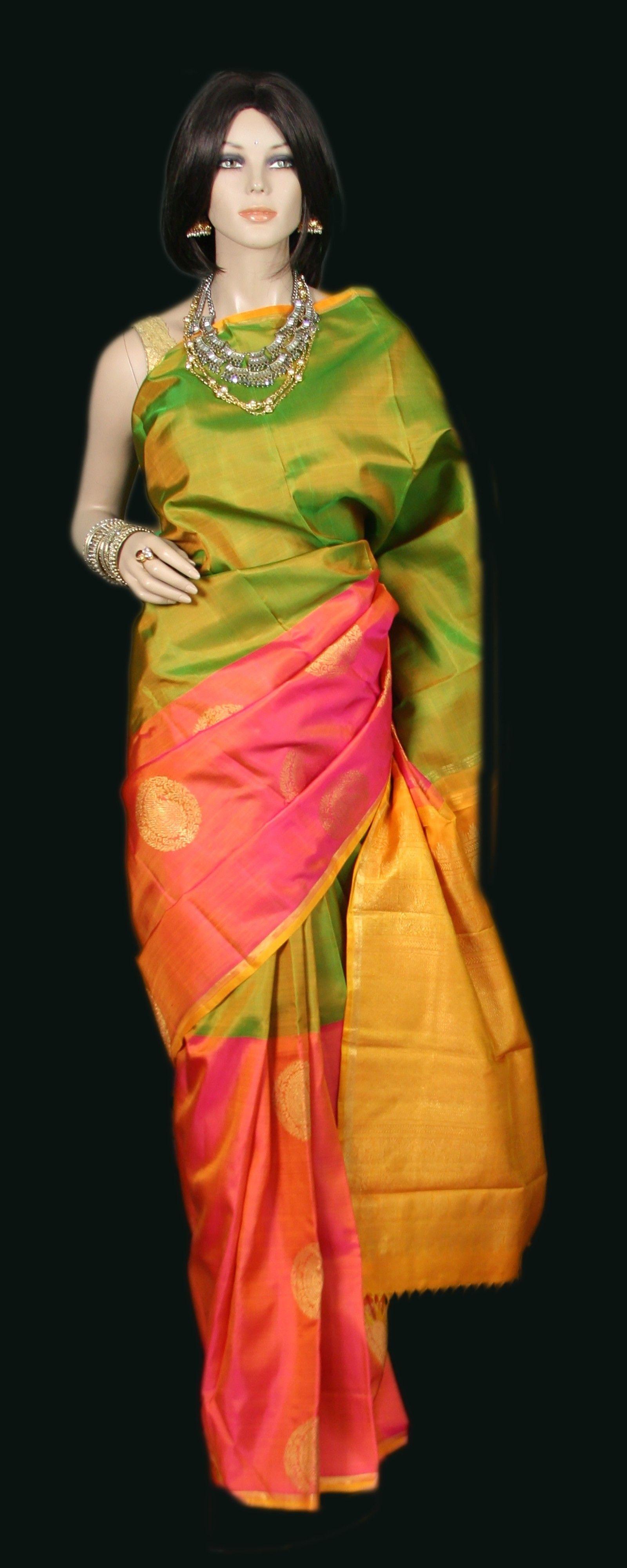 2431b657788f25 Peach and green Kanjeevaram Silk Saree