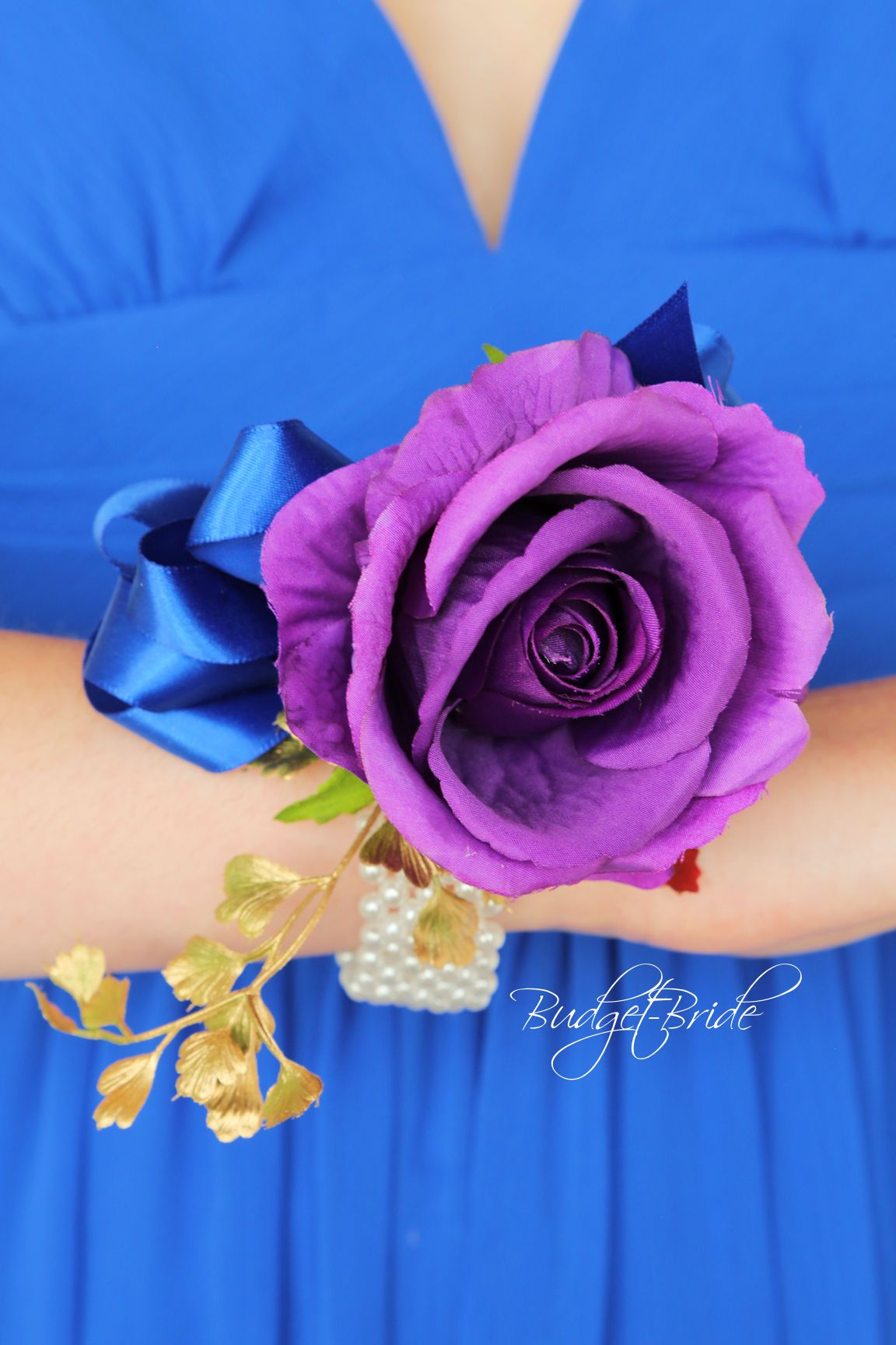Horizon Blue, Purple And Gold Cascading Teardrop Wedding Bouquet