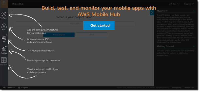 AWS Mobile Hub – Build, Test, and Monitor Mobile Applications