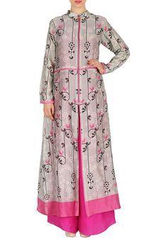 b5b39d18236 Grey Long Jacket Kurta With Pink Palazzo Pants by SOUP