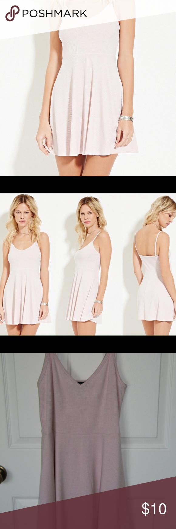 Pink dress forever 21  Light Pink Mini Dress Forever   Pink mini dresses Skater skirt