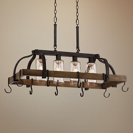 Eldrige 36 1 2 Quot Wide 4 Light Bronze Pot Rack Chandelier