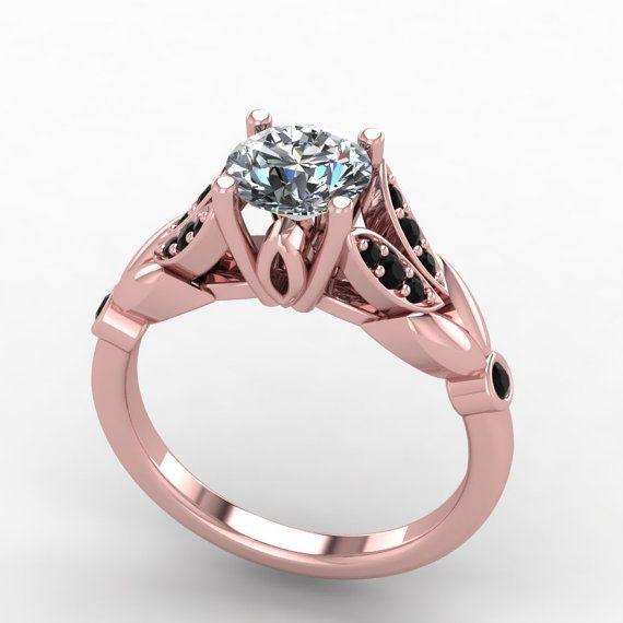Rose gold black diamond ringrose gold moissanite by fabiandiamonds