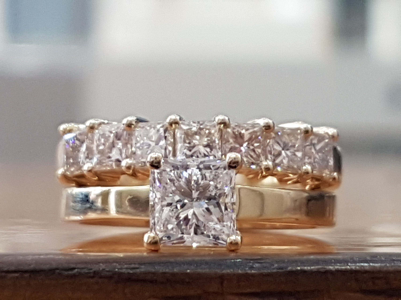 2 1 3 Carat Diamond Engagement Ring Set Wedding Rings Set Etsy Yellow Gold Diamond Engagement Ring Princess Diamond Ring Wedding Ring Diamond Band